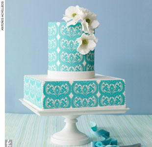 Teal-patterned and printed fondant wedding cake accented with sugar flowers and white trim by Bijoux Doux by Ellen Baumwoll, BijouxDoux.com
