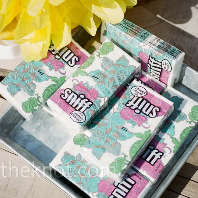 A platter of tissue packages was set out at the ceremony for any guests who shed happy tears.