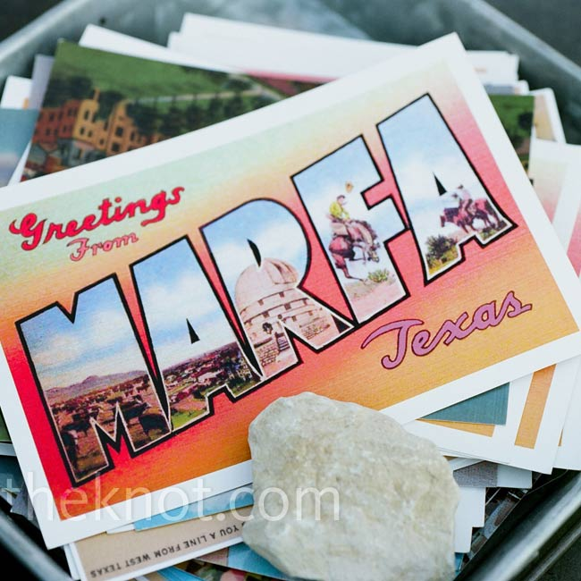 Instead of a traditional guest book, Dan bought and copied a bunch of vintage Marfa postcards for guests to sign.