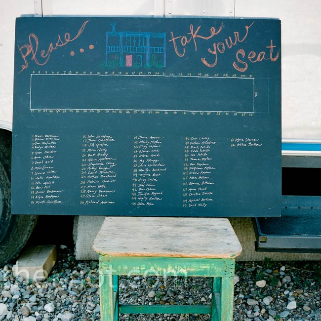 To create their homemade seating chart, Dan painted a lightweight drawing board with chalkboard paint and Leesy's sister wrote out the names.