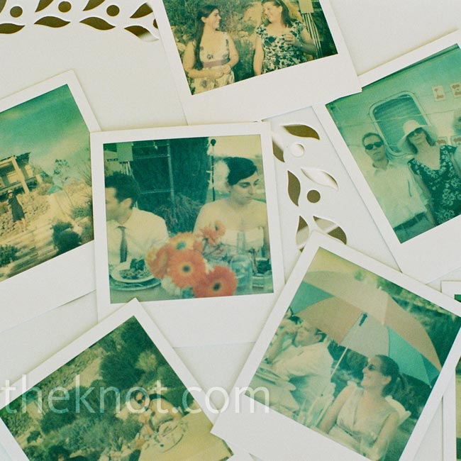 Their wedding photographer used Dan's Polaroid SX-70 camera to take candid shots of the guests, which were then displayed on a photo board.