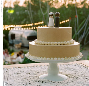The wedding cake baker (Leesy's cousin's wife) crafted the two-tiered, ten-layer chocolate cake and frosted it with espresso buttercream.