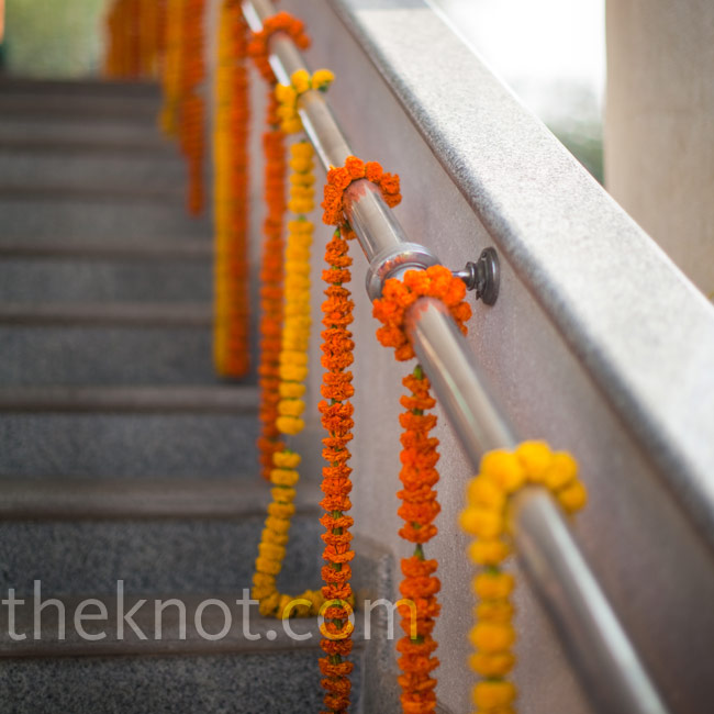 The steps leading to the gurdwara, or Sikh temple, were decorated with strings of marigolds.