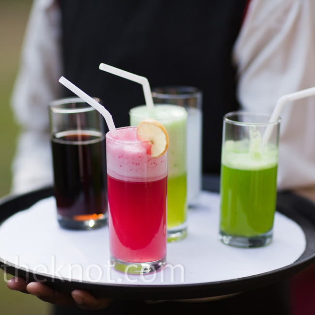 Guests at the mehendi party were served fresh cucumber drinks, watermelon juice, and Coca Cola.