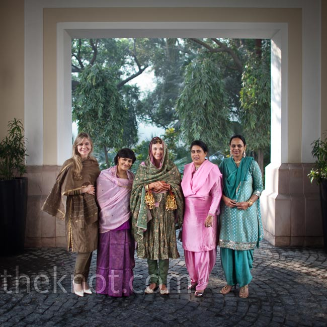 Kristin's attendants all wore the traditional salwar kameez dress for the ceremony.