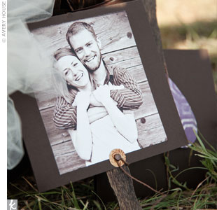 The couple spent many hours putting together their ceremony program fans. The front of the programs had a picture of the couple, and the fan opened up into the program. An antique-style brad and twine held it closed during the ceremony.