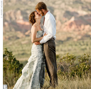 Katie bought her pale blue-green wedding dress from Morle in Lubbock. Her seamstress added the sweetheart neckline.