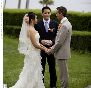 The ceremony took place on the lawn of the estate overlooking the ocean. Andas brother officiated.