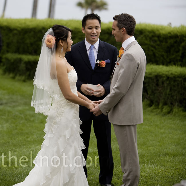 The ceremony took place on the lawn of the estate overlooking the ocean. Anda's brother officiated.