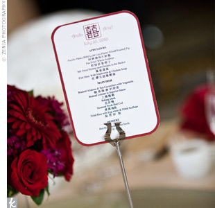 A friend of the bride designed the reception menus and printed them in Chinese and English.