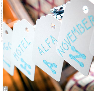 "A table displayed luggage tags, each with one letter, spelling out ""thank-you."" Next to the letter, the couple wrote the corresponding aviation phonetic alphabet word in glittery letters."