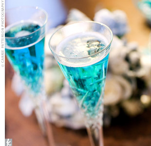 Even the champagne was blue thanks to splashes of Curaçao.