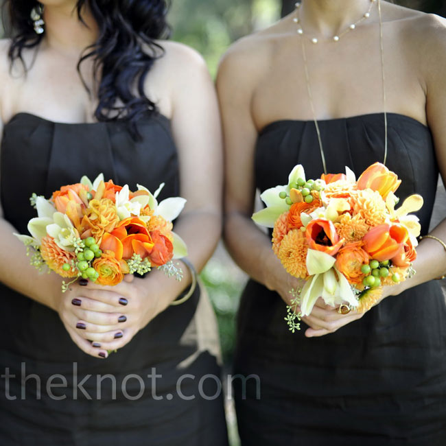 The bridesmaids held bundles of vibrant orchids, tulips, dahlias and ranunculus.