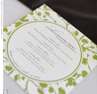 Green and white menu cards and matching napkins marked each place at the reception.