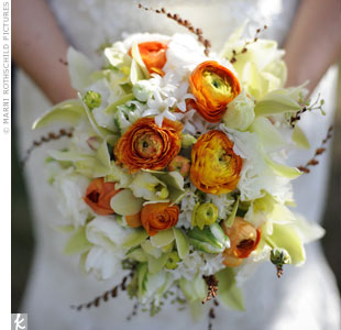 Kirsten carried a lush bouquet of orange ranunculus and light green orchids.