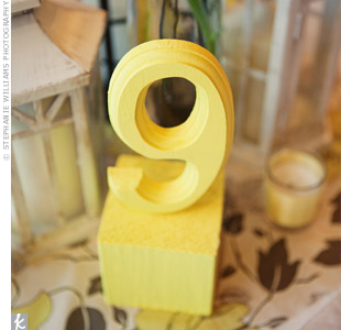 Wooden numbers were painted yellow and set on blocks for added height.