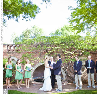 Jenna and Peter exchanged vows in a brick-enclosed, garden courtyard outside the pavilion in the early evening.
