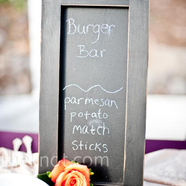 The bride and groom used mini chalkboards to display a variety of modern fare, like a burger bar with Parmesan potato matchsticks.