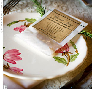 For a cozy, rustic feel, the couple borrowed the reception china from their neighbors and relatives.