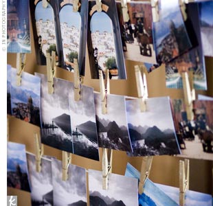 Bevan popped the question during their tour of Europe one summer. The couple chose 10 of their favorite photos from that trip for the escort cards and named each table after a location in the photos.
