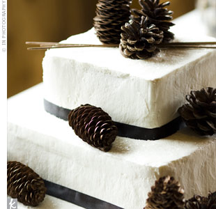 A family friend baked the couples three-tiered cake with white icing. Black ribbon and pine cones gave the confection an elegant winter theme.