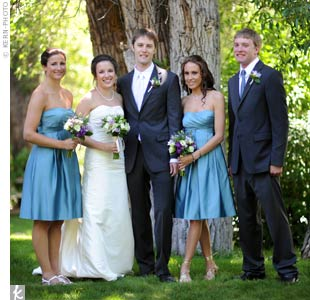"The couple's sisters matched the laid back style with strapless, teal dresses. ""They were cute and casual enough for a backyard wedding,"" says Lindsay."