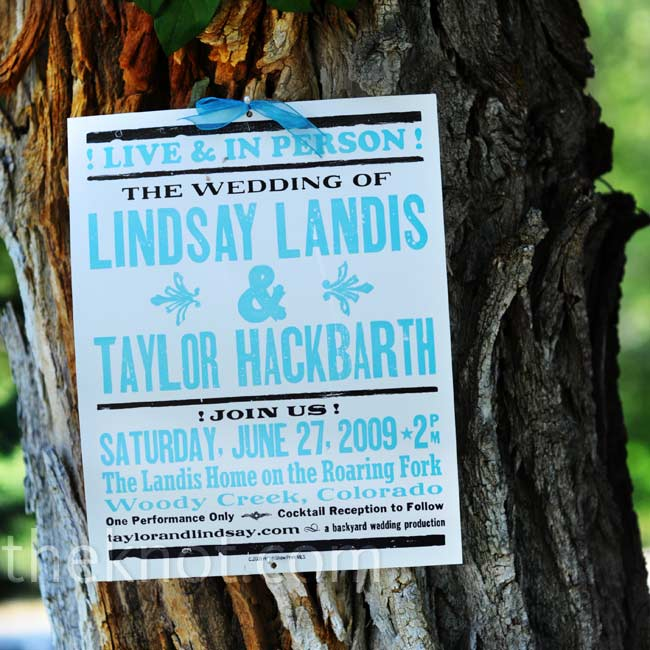 As a nod to Taylor's love for music, the couple had their invitations printed on concert-style posters and mailed out in poster tubes.
