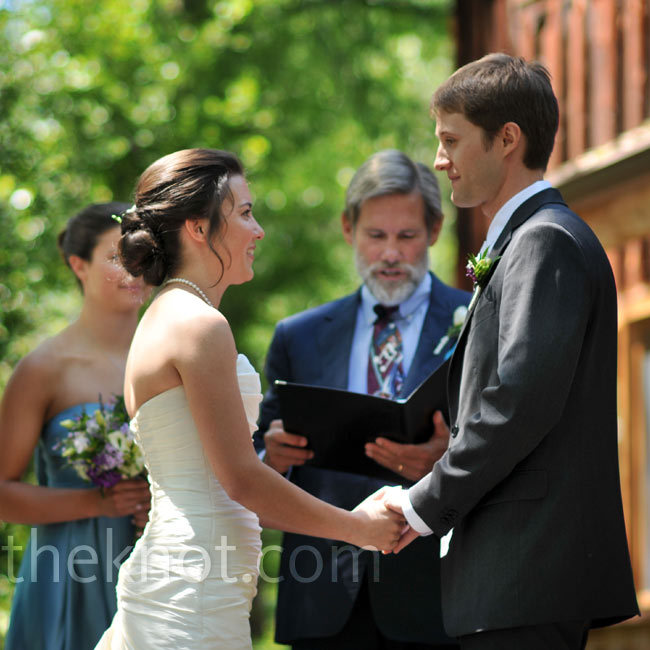 "The bride and groom exchanged vows on the deck of Lindsay's childhood home near the Roaring Fork River at 2:31 -- a Jewish tradition. ""While our ceremony wasn't religious, there were still little touches of family tradition and luck incorporated in,"" says the bride."