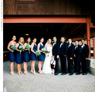 The bridesmaids wore navy J. Crew dresses in different styles, and the guys wore tuxedos.
