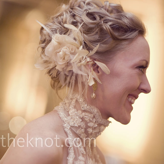 For the party, Shannon switched to a flashy and fun hairpiece full of white and gold feathers.