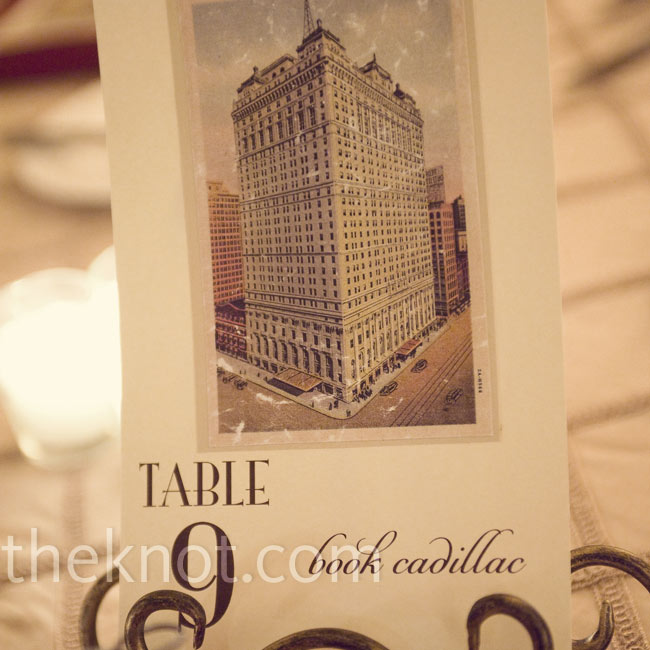 Shannon and Steve named all the tables after Detroit landmarks. Vintage postcards of each one were included on the escort cards, 