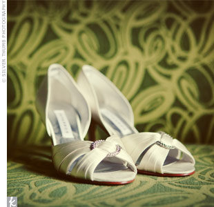 "Alisa chose a pair of peep-toe pumps accented with a little sparkle. The style name for the Caparros shoe? ""Elope."""