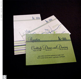 The couple&#39;s green, white, and navy striped invitation suite included a map of the area for guests.