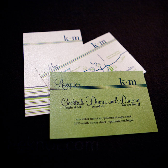 The couple's green, white, and navy striped invitation suite included a map of the area for guests.
