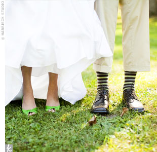 Michelle slipped some green into her wedding look -- literally. She ordered this pair of bright green heels online. Brad and his guys wore striped socks to match.