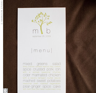 Michelle and Brad designed their wedding stationery, including their modern menu cards. They switched up the font size and color for a sleek, simple look.