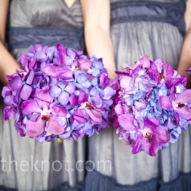 Bright purple hydrangeas went nicely with the purple-ish gray bridesmaid dresses and the decor.