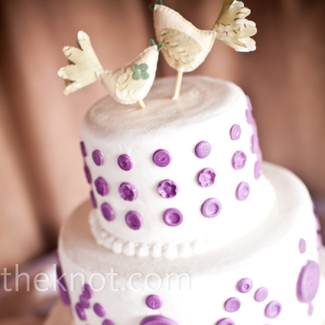 Joy's friend baked the three-tiered Funfetti cake, decorated with handmade lilac-chocolate buttons.