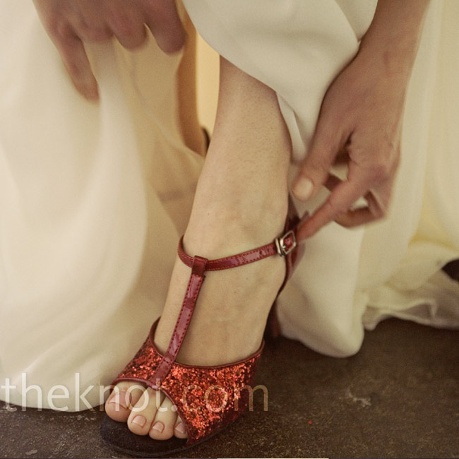 For the reception, Eagen changed into ruby red heels (which were actually ballroom dancing shoes).
