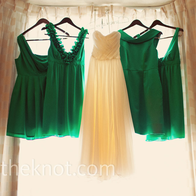 Eagen's friends got their kelly green bridesmaid dresses at Thread in New York City.