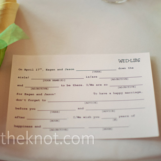 "Guests received ""Wed Libs"" at their place setting and were encouraged to fill them out with creative responses for the couple to read."