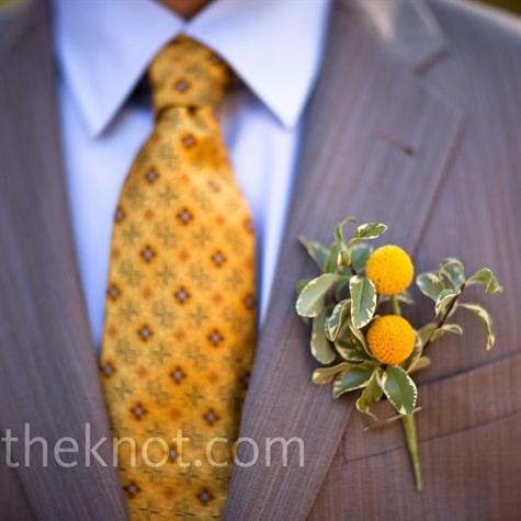 Yellow Wedding Boutonniere