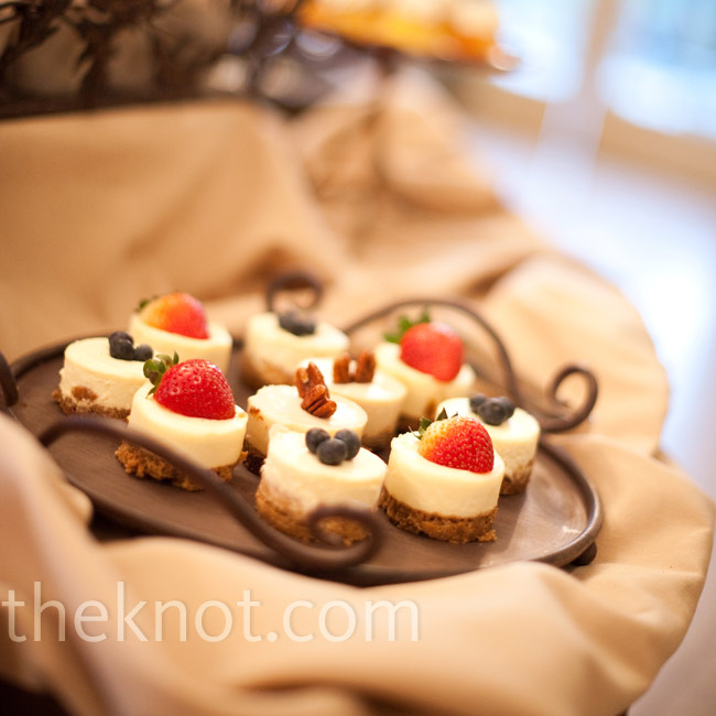 Instead of wedding cake, there was a large assortment of desserts on hand, like these mini cheesecakes.