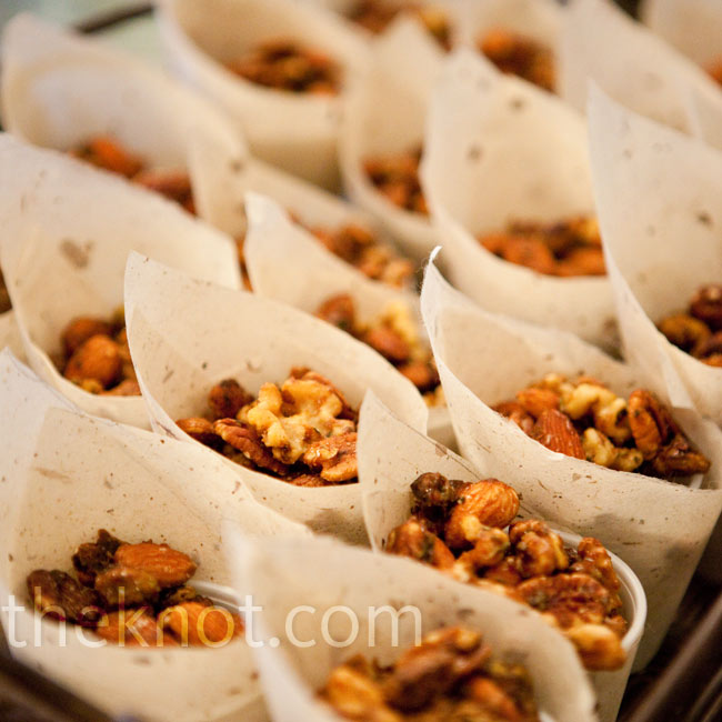Laura and Andrew's day included plenty of creative food, like these cones filled with spiced nuts.