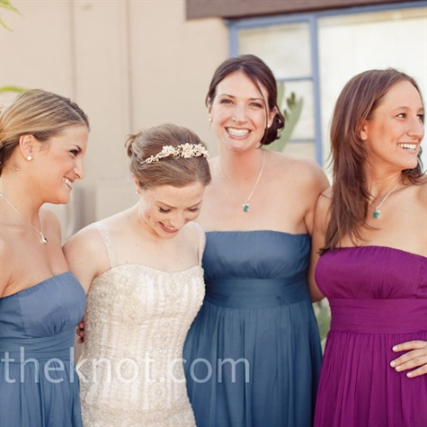 Blue and Burgundy Bridesmaid Dresses