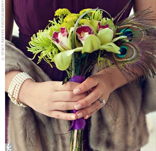 The bridesmaid bouquets had the same feel as Abigail's, but with slightly different flowers.