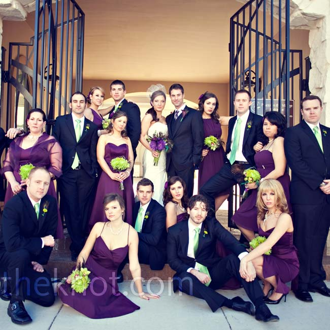 Abby's eight bridesmaids wore purple dresses in different styles for a unique yet unified look.
