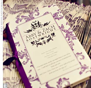 "A bridesmaid designed the program's logo, which featured a quote from Pride & Prejudice: ""You have bewitched me body and soul and I love, I love, I love you..."""