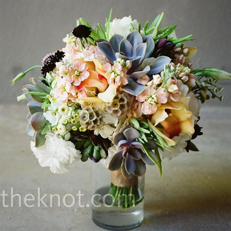 Peach and Blue Bouquet