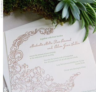 These custom letterpressed invites set the tone for the day. To offset the costs, guests RSVP'd on their wedding website.